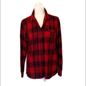 Bass red and black tartan plaid flannel shirt